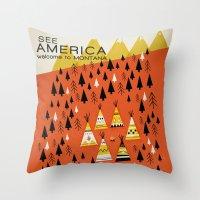 montana Throw Pillows featuring Montana by Design for Obama