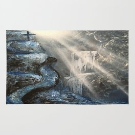 Spray Paint Waterfall Road to the Cross Rug