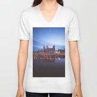 cleveland V-neck T-shirts featuring Daybreak in Cleveland by Jeffrey Stroup