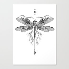 Dragon Fly Tattoo Black and White Canvas Print