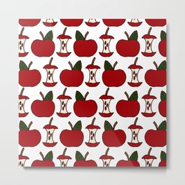 Apples and Apple Cores | Red Apples | Apple Pattern Metal Print