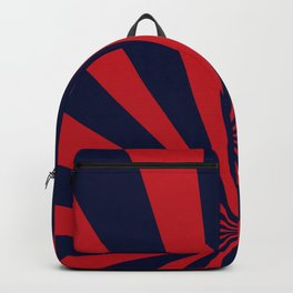 Retro dark blue and red sunburst style abstract background. Backpack