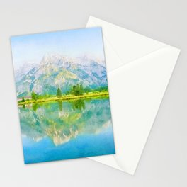Lake reflections watercolor painting #5 Stationery Cards