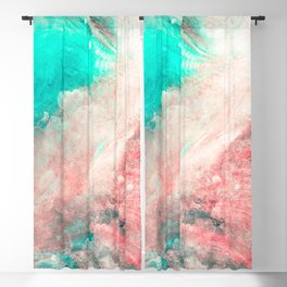 Teal and Peach Across the Universe Blackout Curtain