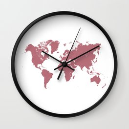 world map 25 gold rose Wall Clock