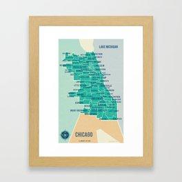 City of Chicago Map Framed Art Print