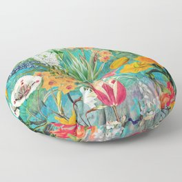 Vintage & Shabby Chic - Summer Blue Turquoise Botanical Spring Garden Meadow Floor Pillow