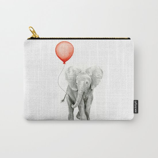 Baby Elephant Watercolor Red Balloon Nursery Decor Carry-All Pouch