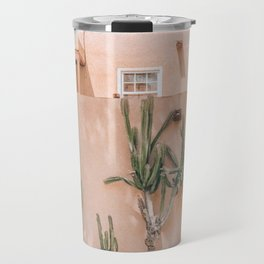 Pink House With Cactus Travel Mug