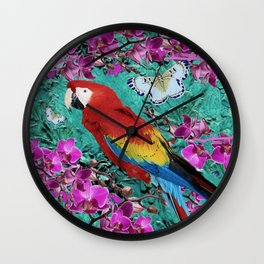 TROPICAL ORCHIDS RED MACAW PARROT JUNGLE ART Wall Clock