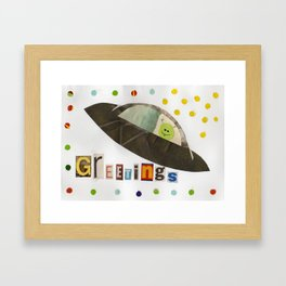 Flying Saucer Greetings Framed Art Print