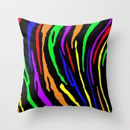 Rainbow Tiger Stripes Throw Pillow