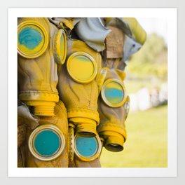 Yellow gas mask Art Print