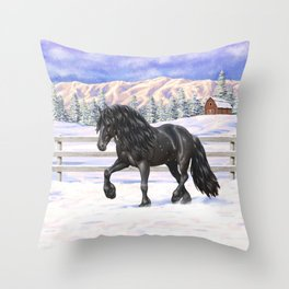 Friesian Horse Trotting In Snow Throw Pillow