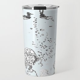 Two Tailed Duck and Jellyfish Pale Blue Travel Mug