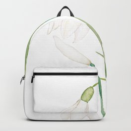 angelic snowdrop flowers watercolor Backpack