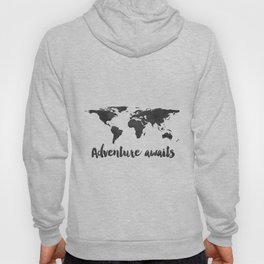 Printable Adventure Awaits World Map Poster, Navy Travel Quote Print, JPG File, Instant Download Hoody