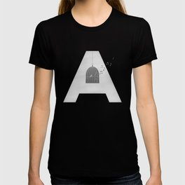"""A - Maja Angelou """"I know why the caged bird sings"""" T-shirt"""