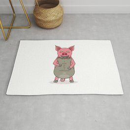 pig and bag with gold coins Rug