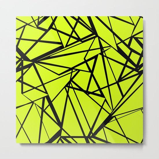 An abstract geometric pattern . Yellow green pattern . Metal Print