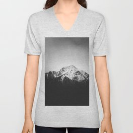 Black and white snowy mountain Unisex V-Neck