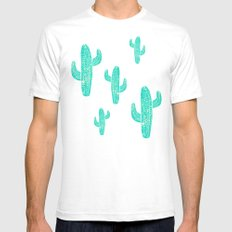 Linocut Cacti Candy Mens Fitted Tee White LARGE