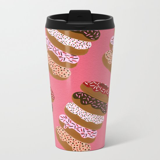 Stacked Donuts on Cherry Metal Travel Mug