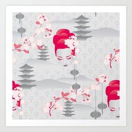 Geisha Cherryblossom Design Art Print