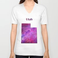 utah V-neck T-shirts featuring Utah Map by Roger Wedegis