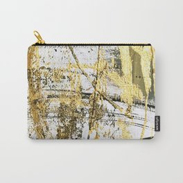Armor [11]: a bold, elegant abstract mixed media piece in gold pink black and white Carry-All Pouch