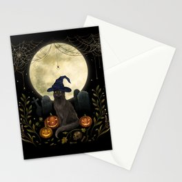 The Black Cat on Halloween Night Stationery Cards