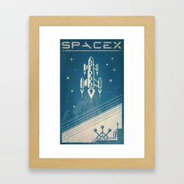 SpaceX retro-futuristic poster design Framed Art Print