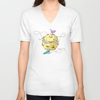 potato V-neck T-shirts featuring Moon Potato by skarmanami
