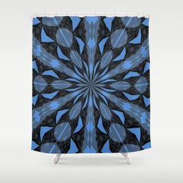 Blue Steel and Black Fragmented Kaleidoscope Shower Curtain