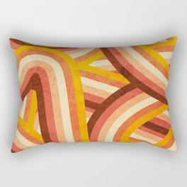 Vintage Orange 70's Style Rainbow Stripes Rectangular Pillow