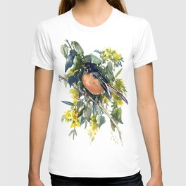American Robin on Linden Tree, Deep blue Cottage Woodland style design T-shirt
