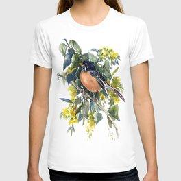 American Robin on Linden Tree, Deep blue Cottage Woodland style design T-shirt