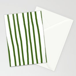 Simply Drawn Vertical Stripes in Jungle Green Stationery Cards
