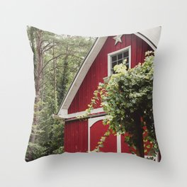 Red Barn 3 Throw Pillow