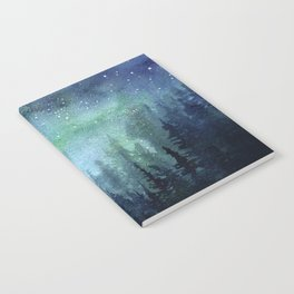 Watercolor Galaxy Nebula Northern Lights Painting Notebook