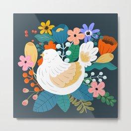 A Cheerful Chicken In A Sunny Garden Metal Print