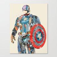 superheros Canvas Prints featuring modern capt america by bri.buckley