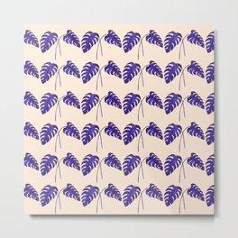 Indigo Monstera Leaf Watercolor on Blush Metal Print