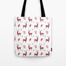 Christmas Red Reindeers Tote Bag