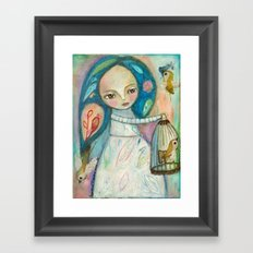 Free to fly - girl and birds Framed Art Print