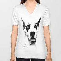 great dane V-neck T-shirts featuring Great Dane  by Mr Shins