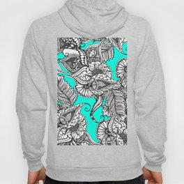 Boho black white hand drawn floral doodles pattern turquoise Hoody