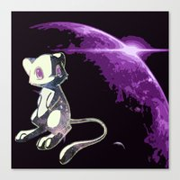 mew Canvas Prints featuring Mew  by Cat Milchard