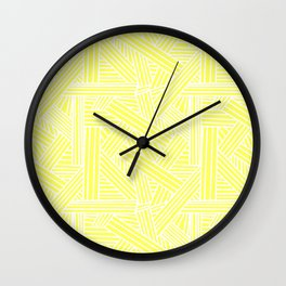 Sketchy Abstract (White & Light Yellow Pattern) Wall Clock