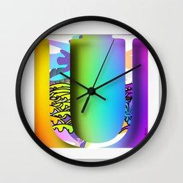 MONOGRAM INITIAL U FLORAL Wall Clock